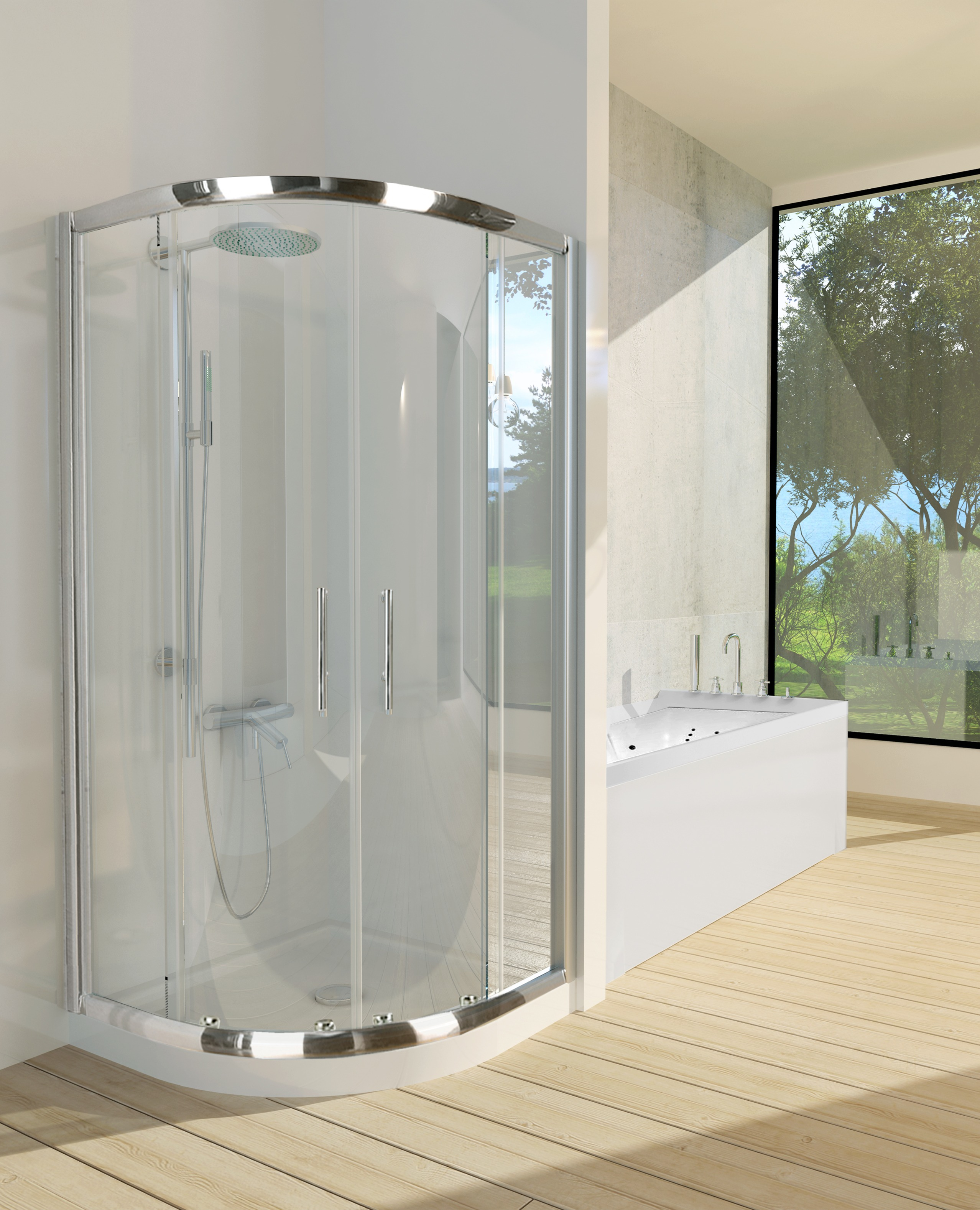 Dome Suite Curved Double Sliding Shower Screen 900